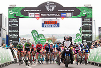 Picture by Allan McKenzie/SWpix.com - 15/05/2018 - Cycling - OVO Energy Tour Series Womens Race - Round 2:Motherwell - The race rolls out from under the gantry.