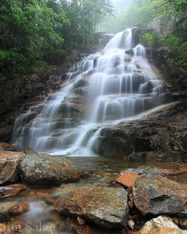 Cloudland Falls descends eighty feet in Franconia Notch, NH.