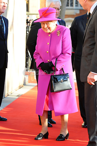 Her Majesty The Queen, accompanied by His Royal Highness The Duke of York, visit The Honourable Society of Lincoln's Inn in London to officially open the new Ashworth Centre, and re-open the recently renovated Great Hall.<br />