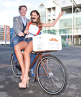 "NO REPRO FEE. 10/11/2011. Miss Universe Ireland Aoife Hannon and Neil Rooney from Movember Ireland are pictured at the Gibson Hotel Dublin in aid of Movember. The gibson hotel is rockin' a lot of Mo love this November all in aid of Movember, the phenomenal moustache growing global campaign to raise awareness and funds for men's health especially prostate cancer. Today, Thursday 10th November, ""Mo Bro' staff at the gibson hotel were joined by Miss Universe Ireland Aoife Hannon and Neil Rooney from Movember Ireland to show how the gibson hotel's Movember antics are ""growing"" along!One of Dublin's hippest venues, the gibson hotel right in the heart of our emerging music and cultural hub in the Docklands is proud to embrace Movember with gusto with 12 staff members signed up for the annual moustache growing challenge and the hotel will be donating €1 from every Bacardi Mojito and bottle of Corona sold during the month of November. They have also built a custom made ""Get your Mo On"" carnival board for anyone passing through the hotel to try on a mo , have their picture taken and make a donation to Movember. Picture James Horan/Collins"
