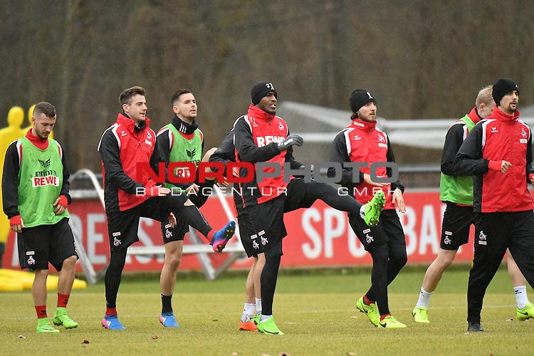 22.02.2017, Trainingsgelaende Geissbockheim, Koeln, GER, 1.FBL., 1. FC K&ouml;ln Training <br /> <br /> im Bild / picture shows: <br /> warmmachen in der mitte Anthony Modeste (1. FC Koeln #27), rechts daneben Marco H&ouml;ger/Hoeger (1. FC Koeln #6), ganz re Neven Subotic ( 1. FC K&ouml;ln #2),<br /> <br /> <br /> <br /> <br /> Foto &copy; nordphoto / Meuter