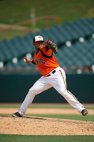 Bowie Baysox pitcher Francisco Jimenez (3) during an Eastern League game against the Binghamton Rumble Ponies on August 21, 2019 at Prince George's Stadium in Bowie, Maryland.  Bowie defeated Binghamton 7-6 in ten innings.  (Mike Janes/Four Seam Images)