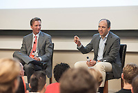 """(Photo by Dennis Davis, Freelance)<br /> <br /> """"Wall Street After the Crisis"""", A panel discussion with Ian McKinnon '89 and Soroosh Shambayati '86.<br /> Occidental College kicked off a yearlong celebration of its 125th anniversary on Friday, April 20, 2012. The Founders Day celebration featured a panel discussion in Johnson 200 (J200) by distinguished alumni on the future of Wall Street.<br /> <br /> (Photo by Dennis Davis, Freelance)"""