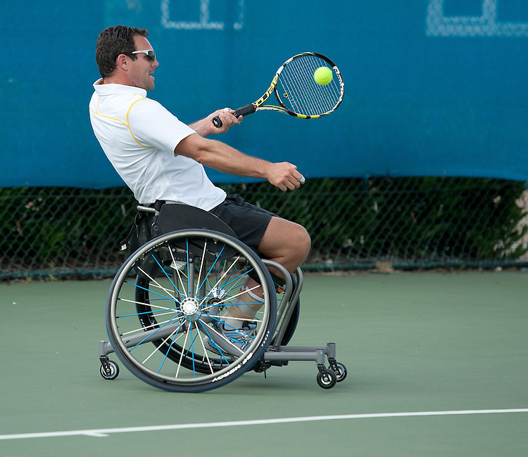 Paul Stewart (GBR) in action with his partner Edward Holt (GBR) in their Mens Doubles First Round match today playing against Alexander Jewitt (GBR) and Satoshi Saida (JPN)<br /> <br />  (Photo by James Jordan/Tennis Foundation) <br /> <br /> Tennis - British Open Wheelchair Tennis Championships - Wednesday 17th July 2012 - Nottingham Tennis Centre - Nottingham<br /> <br /> &copy; Tennis Foundation/James Jordan - The National Tennis Centre - 100 Priory Lane - Roehampton - London - SW15 5JQ - Tel 020 8487 7304 - info@tennisfoundation.org.uk