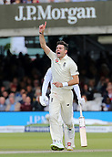 9th September 2017, Lords Cricket Ground, London, England; International test match series, third test, Day 3; England versus West Indies; England Bowler James Anderson celebrates taking the wicket of West Indies Jermaine Blackwood, caught behind by Wicket Keeper Jonny Bairstow
