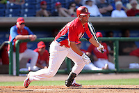 Philadelphia Phillies infielder Kevin Frandsen #28 at bat during a spring training game against the Houston Astros at Bright House Field on March 7, 2012 in Clearwater, Florida.  (Mike Janes/Four Seam Images)