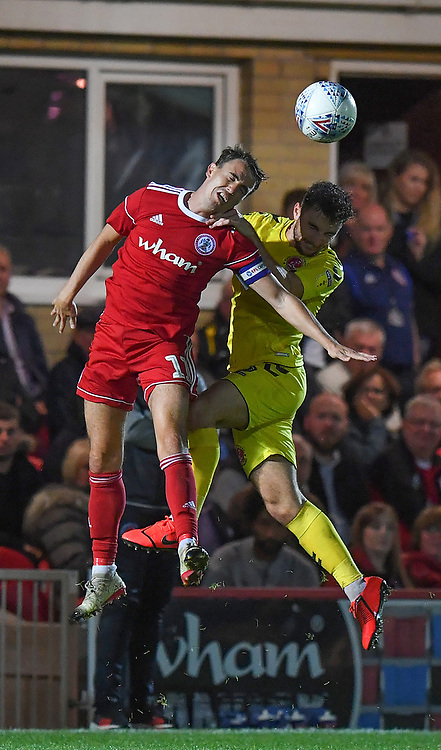 Fleetwood Town's Lewis Coyle battles with Accrington Stanley's Sean McConville<br /> <br /> Photographer Dave Howarth/CameraSport<br /> <br /> EFL Leasing.com Trophy - Northern Section - Group B - Tuesday 3rd September 2019 - Accrington Stanley v Fleetwood Town - Crown Ground - Accrington<br />  <br /> World Copyright © 2019 CameraSport. All rights reserved. 43 Linden Ave. Countesthorpe. Leicester. England. LE8 5PG - Tel: +44 (0) 116 277 4147 - admin@camerasport.com - www.camerasport.com