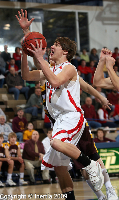 SIOUX FALLS, SD - FEBRUARY 14:  Dylan kreytzfeldt #1 of Chester takes the ball to the basket against Menno in the first half or their game at the 2009 Dakota Schoolers Border Classic Saturday at the Elmen Center. (Photo by Dave Eggen/Inertia)(Photo by Dave Eggen/Inertia)