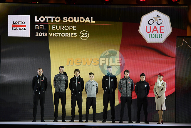 Lotto-Soudal team on stage at the inaugural UAE Tour 2019 opening ceremony and team presentation held in the Louvre Abu Dhabi, United Arab Emirates. 23rd February 2019.<br /> Picture: LaPresse/Fabio Ferrari | Cyclefile<br /> <br /> <br /> All photos usage must carry mandatory copyright credit (© Cyclefile | LaPresse/Fabio Ferrari)