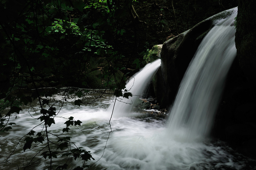 Waterfall at the Schiessentümpel, Mullerthal trail, Mullerthal, Luxembourg