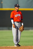 Greeneville Astros shortstop Antonio Nunez (1) on defense against the Burlington Royals at Burlington Athletic Park on June 29, 2014 in Burlington, North Carolina.  The Royals defeated the Astros 11-0. (Brian Westerholt/Four Seam Images)