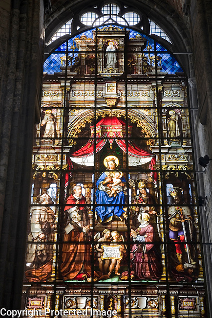 Stained Glass Window, St Niklaaskerk - Nicholas Church, Ghent, Belgium, Europe