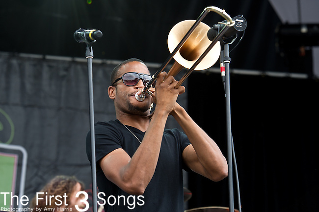 Trombone Shorty (Troy Michael Andrews) of Trombone Shorty and Orleans Avenue performs during the All Good Music Festival at Legend Valley in Thornville, Ohio.