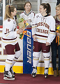 Lexi Bender (BC - 21), Brooke DiBona (BC), Meghan Grieves (BC - 17), Debbie Grieves - The Boston College Eagles defeated the visiting Providence College Friars 7-1 on Friday, February 19, 2016, at Kelley Rink in Conte Forum in Boston, Massachusetts.