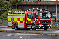 Pictured: A fire service vehicle outside the Tata Steel Works in Port Talbot, Wales, UK. Friday 26 April 2019<br /> Re: A series of explosions happened in the early hours of the morning at the Tata Steel Works in Port Talbot, south Wales, UK.