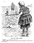 "Out of the Swim. John Bull. Madame La France.} ""Come and join us!"" Germany. ""I should love to, but I feel rather hampered by this stuffy old costume."" [Germany wears the Disarmament Conditions swimming costume]"