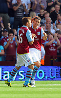 Saturday 15 September 2012<br /> Pictured: Matthew Lowton of Aston Villa (R) celebrating his opening goal with team mate Andreas Weimann (L).<br /> Re: Barclay's Premier League, Aston Villa v Swansea City FC at Villa Park, West Midlands, UK.
