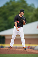 Batavia Muckdogs relief pitcher Ryan McKay (23) looks in for the sign during a game against the Auburn Doubledays on September 3, 2018 at Dwyer Stadium in Batavia, New York.  Auburn defeated Batavia 8-5.  (Mike Janes/Four Seam Images)