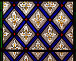 Stained glass windows circa 1850s by James Powell and Sons ornamental floral fleur de lis pattern, church of Saint Stephen  , Beechingstoke, Wiltshire, England, UK