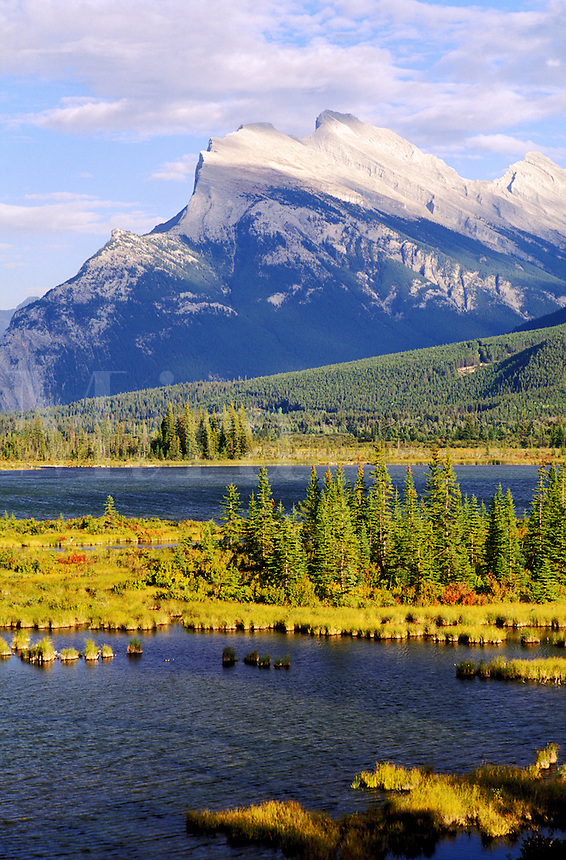 Canada, Alberta, Banff National Park. Mount Rundle and Vermilion Lake