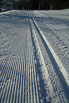 Fresh grooves of newly groomed cross country ski tracks on a sunny morning, with woods in bakcground.