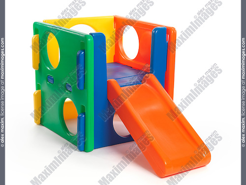 Kid climber toy with a slide isolated on white background
