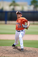 GCL Astros relief pitcher Miguel Figueroa (58) delivers a pitch during a game against the GCL Nationals on August 6, 2018 at FITTEAM Ballpark of the Palm Beaches in West Palm Beach, Florida.  GCL Astros defeated GCL Nationals 3-0.  (Mike Janes/Four Seam Images)