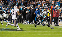 The Carolina Panthers play the New England Patriots at Bank of America Stadium in Charlotte North Carolina on Monday Night Football.  The Panthers defeated the Patriots 24-20.  Carolina Panthers wide receiver Steve Smith (89), New England Patriots cornerback Aqib Talib (31)