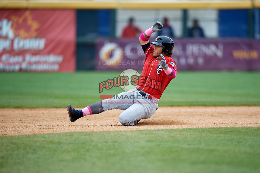 New Hampshire Fisher Cats left fielder Harold Ramirez (23) slides into second base during the first game of a doubleheader against the Harrisburg Senators on May 13, 2018 at FNB Field in Harrisburg, Pennsylvania.  New Hampshire defeated Harrisburg 6-1.  (Mike Janes/Four Seam Images)
