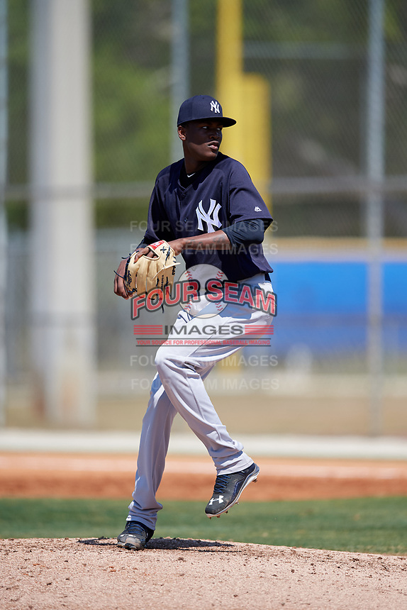 New York Yankees pitcher Juan De Paula (65) during a Minor League Spring Training game against the Toronto Blue Jays on March 18, 2018 at Englebert Complex in Dunedin, Florida.  (Mike Janes/Four Seam Images)