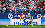 Kevin Gameiro (l) of Club Atletico de Madrid competes for the ball with Bakary Kone of Malaga CF during their La Liga match between Club Atletico de Madrid and Malaga CF at the Estadio Vicente Calderón on 29 October 2016 in Madrid, Spain. Photo by Diego Gonzalez Souto / Power Sport Images