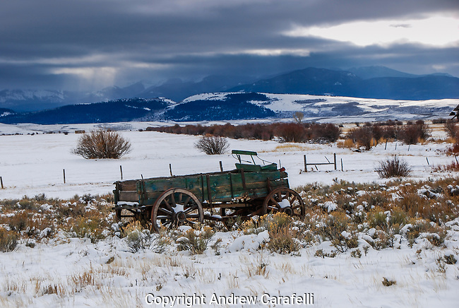 An old wagon, rides out yet another snow storm in Northern Colorado.