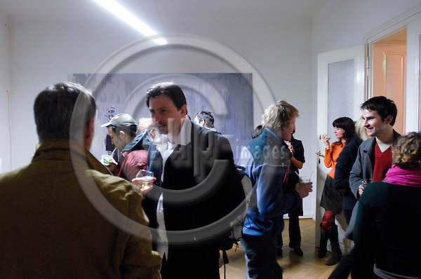 "BRATISLAVA - SLOVAKIA 9. MARCH 2007 -- People at a vernisage of an art exhibition at the Bratislava gallery 'Space'  -- PHOTO: GORM K. GAARE / EUP & IMAGES..This image is delivered according to terms set out in ""Terms - Prices & Terms"". (Please see www.eup-images.com for more details)"