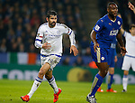Diego Costa of Chelsea makes a run behind Wes Morgan of Leicester City - English Premier League - Leicester City vs Chelsea - King Power Stadium - Leicester - England - 14th December 2015 - Picture Simon Bellis/Sportimage