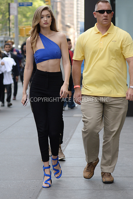 WWW.ACEPIXS.COM<br /> May 12, 2016 New York City<br /> <br /> Gigi Hadid seen at a photo shoot in Manhattan New York City on May 12, 2016.<br /> <br /> Credit: Kristin Callahan/ACE Pictures<br /> <br /> tel: 646 769 0430<br /> Email: info@acepixs.com<br /> www.acepixs.com