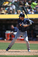 OAKLAND, CA - JUNE 22:  Austin Meadows #17 of the Tampa Bay Rays bats against the Oakland Athletics during the game at the Oakland Coliseum on Saturday, June 22, 2019 in Oakland, California. (Photo by Brad Mangin)