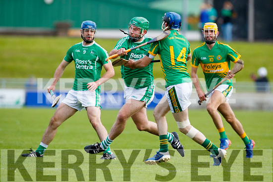 Mikey Boyle (Captain) Ballyduff in action against Michael Conway Lixnaw in the Senior County Hurling Final in Austin Stack Park on Sunday