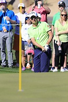 Emiliano Grillo (ARG) chips onto the 9th green during Saturday's Round 3 of the Waste Management Phoenix Open 2018 held on the TPC Scottsdale Stadium Course, Scottsdale, Arizona, USA. 3rd February 2018.<br /> Picture: Eoin Clarke | Golffile<br /> <br /> <br /> All photos usage must carry mandatory copyright credit (&copy; Golffile | Eoin Clarke)