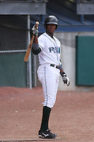Tim Beckham of the Princeton Devil Rays in the on deck circle waiting to hit against the Greeneville Astros in an Appalachian League game at Hunnicutt Field in Princeton, WV on July 20, 2008
