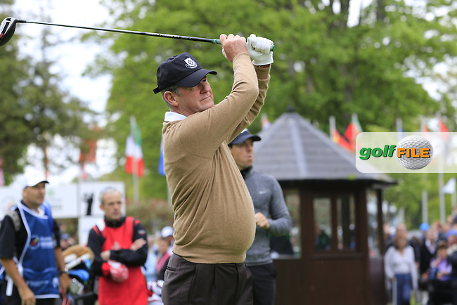 J.P. McManus tees off the 1st tee during Wednesday's Pro-Am of the 2016 Dubai Duty Free Irish Open hosted by Rory Foundation held at the K Club, Straffan, Co.Kildare, Ireland. 18th May 2016.<br /> Picture: Eoin Clarke | Golffile<br /> <br /> <br /> All photos usage must carry mandatory copyright credit (&copy; Golffile | Eoin Clarke)