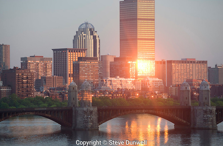 Back Bay skyline sunset from Science Museum, Boston, MA