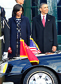 United States President Barack Obama  and first lady Michelle Obama wait to welcome President Hu Jintao of China to the White House for a State Visit in President Hu's honor on Wednesday, January 19, 2011. .Credit: Ron Sachs / CNP.(RESTRICTION: NO New York or New Jersey Newspapers or newspapers within a 75 mile radius of New York City)