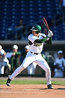 USF Bulls infielder/outfielder Luke Borders (4) at bat during a game against the Alabama State Hornets on February 15, 2015 at Bright House Field in Clearwater, Florida.  USF defeated Alabama State 12-4.  (Mike Janes/Four Seam Images)