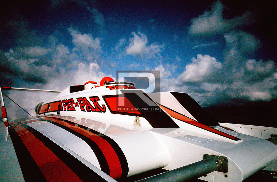 Driver John Walters and the turbine-powered Pay 'n Pak from an on-board camera during a test run at Acapulco. Camera was was a Nikon FE2 with Kodachrome 64.