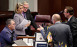 Nevada Senate Republicans, from left, Pete Goicoechea, Barbara Cegavske, Don Gustavson, Joe Hardy and Ben Kieckhefer work on the Senate floor at the Legislative Building in Carson City, Nev., on Sunday, June 2, 2013. <br /> Photo by Cathleen Allison