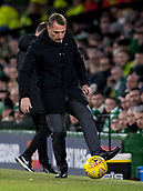 6th February 2019, Celtic Park, Glasgow, Scotland; Ladbrokes Premiership football, Celtic versus Hibernian; Brendan Rodgers Celtic Manager stops the ball on the sideline for a throw-in