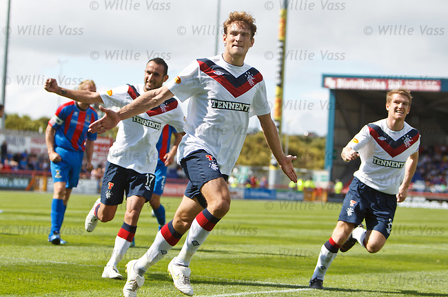 Nikica Jelavic celebrates his penalty strike for Rangers