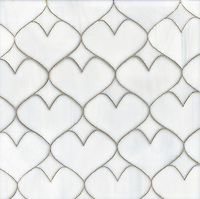 Hearts, a glass waterjet mosaic shown in Moonstone, is part of the Erin Adams Collection for New Ravenna Mosaics.<br />