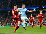Manchester City's Gabriel Jesus tussles with Liverpool's Dejan Lovren during the Champions League Quarter Final 2nd Leg match at the Etihad Stadium, Manchester. Picture date: 10th April 2018. Picture credit should read: David Klein/Sportimage