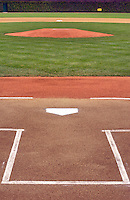 Views of home plate at Wrigley Field in Chicago moments before the first pitch of a game..
